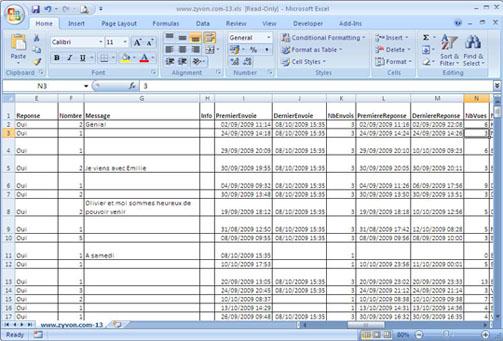 Zyvon.com dans Excel