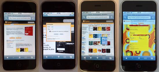 Iphone : La page d'accueil, la connexion (zoomé), le choix et la visualisation d'un modèle
